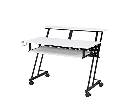 Acme Furniture Suitor Music Recording Studio Desk, White & Black