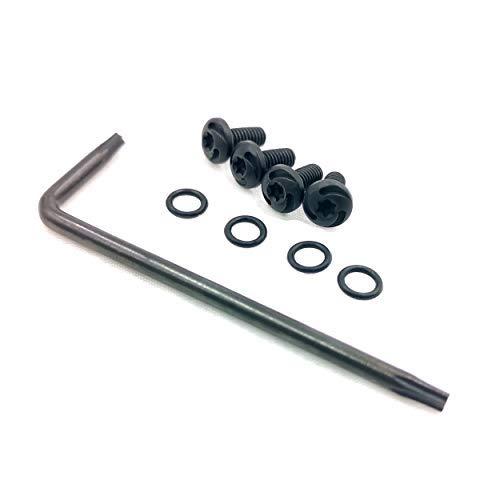 Guuun CZ Grip Screws, 4 O Rings, T10 Torx Key, 4 Stainless Steel Screws Fancy CZ Screws Black