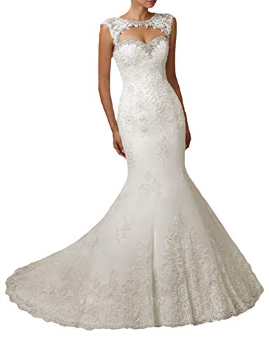 HUINI Brautkleid Meerjungfrau Spitze Lang Rückenfrei Hochzeitskleider Trompete mit Trägerloses mit Herzausschnitt Elfenbein 32