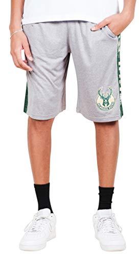 Ultra Game NBA Milwaukee Bucks Men's Mesh Athletic Active Basketball Shorts, Heather Gray, Large