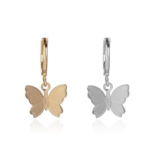 EmNarsissus Pendientes de Gota de Mariposa, joyería de Moda, Bonitos Pendientes de aro, Accesorios de Encanto de Color Dorado y Plateado para Mujer, Regalo de joyería