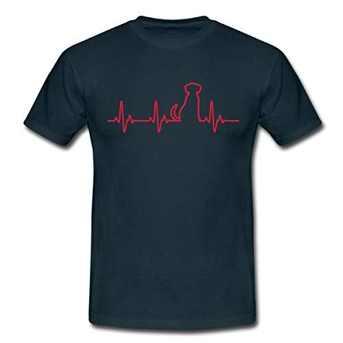 Hund EKG Silhouette Herzschlag Hundefan Männer T-Shirt, L, Navy