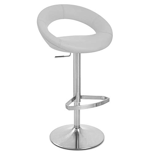 Zuri Furniture Grey Crescent Adjustable Height Swivel Armless Bar Stool