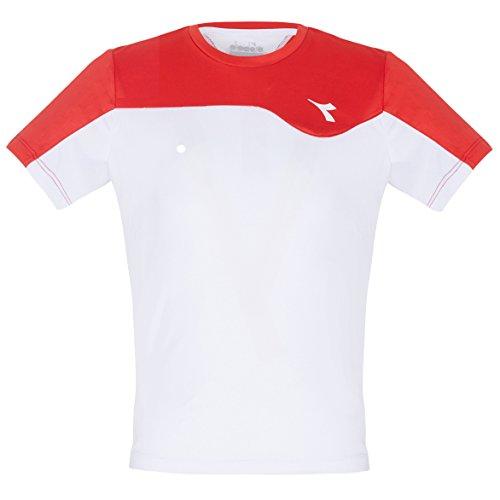 Diadora, Team T-Shirt Jungen-Weiß, Rot, M, Oberbekleidung Bambino, Bianco, M