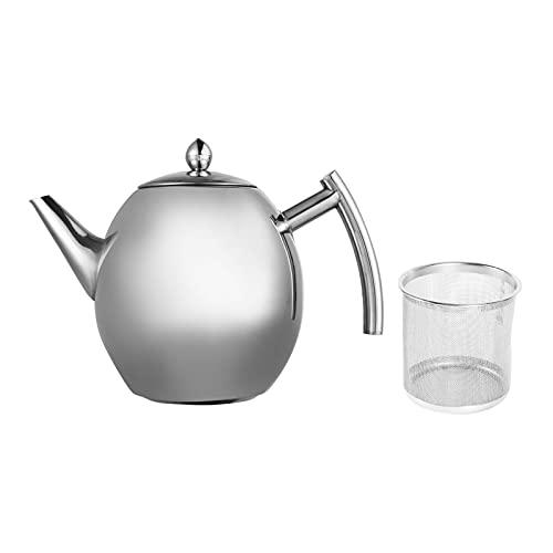Teekanne Edelstahl, Teapot Mit Filter Aus Poliertem, Wasser Kochen Café Tee Kanne Für Zuhause,...