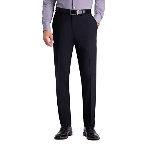 Haggar Men's Stretch Herringbone Pant, Black - 36Wx34L