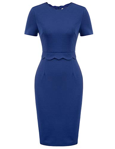 GRACE KARIN Women's Casual Scalloped Neckline Office Career Sheath Dress(X-Large,Navy Blue)