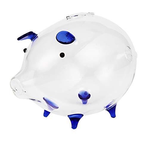 Katigan Cerdo Hucha Cajas de Dinero Caja de Ahorro de Monedas Lindo Recuerdo de Vidrio Transparente Regalo de Cumpleaaos para Niios -Azul