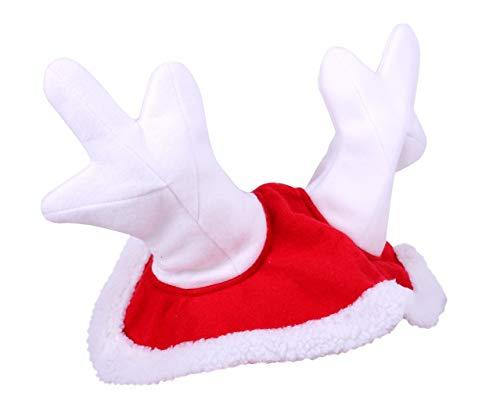 netproshop Pferde Winter-Weihnachtsmütze mit Rentiergeweih Rot Auswahl, Auswahl:Pony
