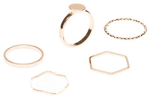 Happiness Boutique Damen Ring Set in Gold 5 Stapelringe   Band Ring Hexagon Ring Schlichtring mit Kreis Minimalist Schmucktrends nickelfrei