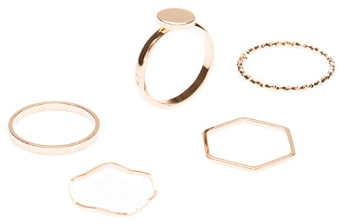 Happiness Boutique Damen Ring Set in Gold 5 Stapelringe | Band Ring Hexagon Ring Schlichtring mit Kreis Minimalist Schmucktrends nickelfrei