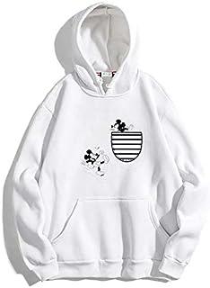 The SV Style Unisex White Hoodie with Black Print: Pocket Mickey/Printed White Hoodie/Graphic Printed Hoodie/Hoodie for Men & Women/Warm Hoodie/Unisex Hoodie