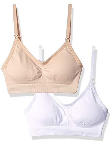 Amazon Brand - Arabella Women's Nursing Seamless Bralette 2 Pack, Shifting Sand/Bright White, Large