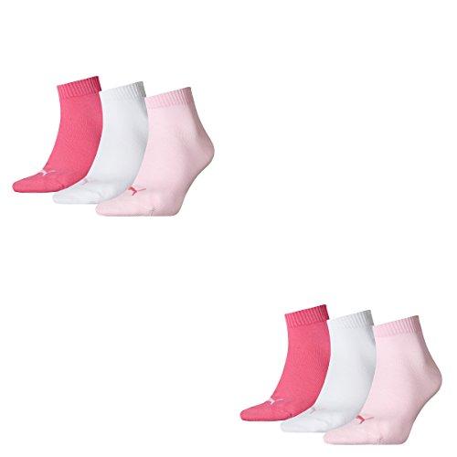 Puma Socken Quarter Sneakers Damen, 6er Pack, Größen 35-42 (Pink/Weiß/Rose (422), 35-38 (UK 2,5-5))