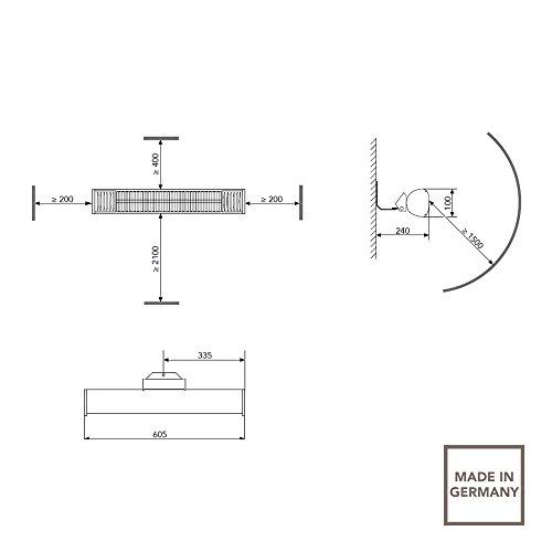AEG Terrasssen-Heizstrahler IR Premium 1500 W IP44 A, hocheffiziente Qualitäts-Goldröhre, anthrazit, 234792 - 2