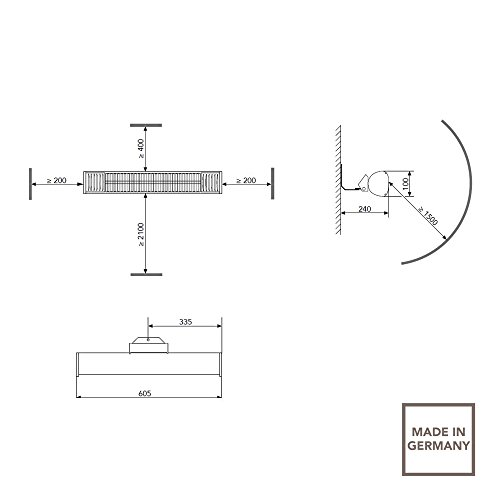 AEG Terrasssen-Heizstrahler IR Premium 1500 W IP44 W, hocheffiziente Qualitäts-Goldröhre, weiß, 234791 - 2