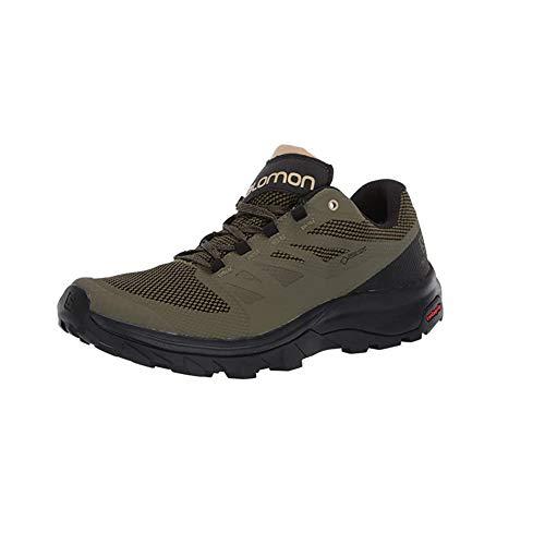 Salomon OUTLINE GTX Scarpe da Uomo con Tecnologia GORE-TEX per Camminate ed Escursionismo, 42 EU, Verde (Burnt Olive Black Safari)