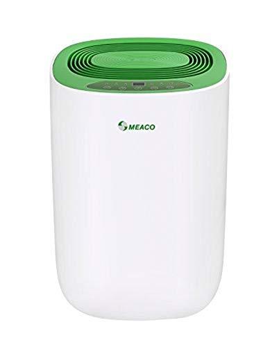 Meaco MeacoDry ABC 12LG - Deshumidificador ultrasilencioso, 35 dB, función secadora, diseño compacto, bajo consumo de energía, 165 W, 240 V, Blanc Avec Panneau Vert