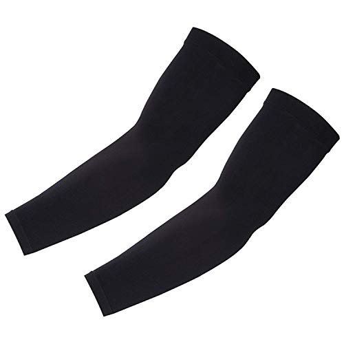 Arm Sleeves for Men Women Youth, Sun Protection Cooling UPF 50 Compression Arm Sleeve Tattoo Cover Up Sleeves to Cover Arms for Elbow Basketball Running Cycling Golf Football Lymphedema Fitness-Black
