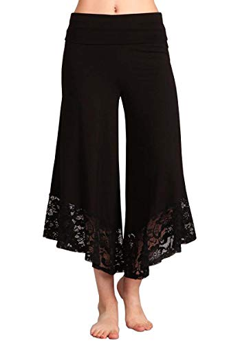 HEYHUN Plus Size Women's Solid Wide Leg Flared Capri Boho Gaucho Pants w/Lace Detail - Black - 3XL