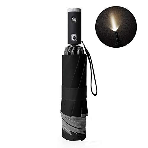 Oqqo Paraguas invertido Paraguas de Viaje de Golf Grande a Prueba de Viento con Linterna de luz LED Creativa Paraguas de 10 Costillas Mango Antideslizante Automático Black