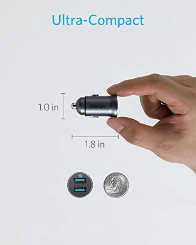 Anker Car Charger, Mini 24W 4.8A Metal Dual USB Car Charger, PowerDrive 2 Alloy Flush Fit Car Adapter with Blue LED, for iPhone XR/Xs/Max/X/8/7/Plus, iPad Pro/Air 2/Mini, Galaxy, LG, HTC and More