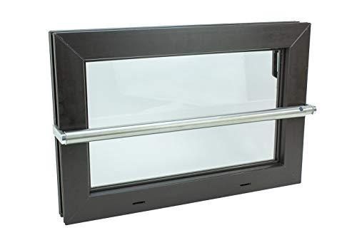 Kellerfenster braun 80 x 50 Isolierverglasung mit Komplett Set Sicherheitsstange und Montagematerial
