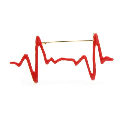 kliy Nyhet smycken röd emalj hjärtslag broscher kvinnor män personlighet stil läkare sjuksköterska sjukhus personal brosch nålar gåvor