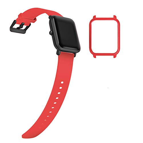 YHC Correa de Repuesto para Xiaomi Amazfit Bip/Bip Lite,con Caja de Reloj (04-Rojo)