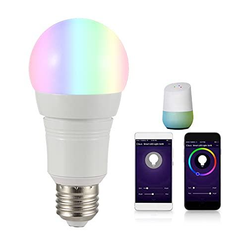 NAYOU Bombillas De Luz Inteligente WiFi - Aplicación O Control De Voz Bulbos De Bayoneta LED, E27 E26 E14 B22 9W Dimmable RGBW LED Lámpara, Funciona con Alexa Y Google Hom E27