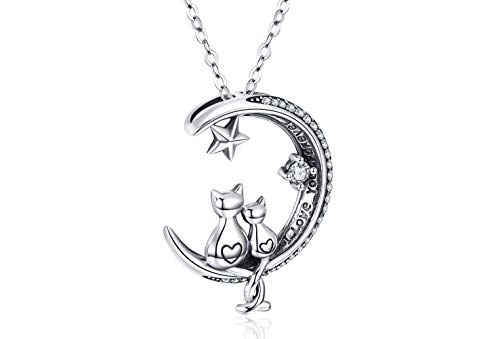 Cat Necklace, S925 Sterling Silver Cat on Moon Pendant, Cubic Zirconia, Women Jewelry, Gifts for Mum with Gift Package- I Love you forever