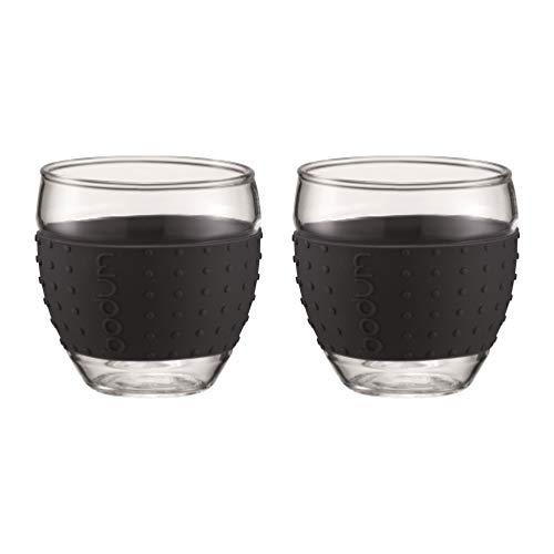 Bodum PAVINA 2-teiliges Gläser-Set (Rutschfester, farbiger Silikonring, 0,1 liters) schwarz