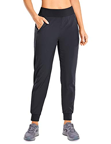 CRZ YOGA Women's Lined Double Layer Athletic Joggers with Zipper Pockets Comfy Lounge Workout Pants with Elastic Waist Black Medium