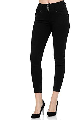 Elara Jeans para Mujer Elástico Cintura Alta Skinny Chunkyrayan E07 Black-42