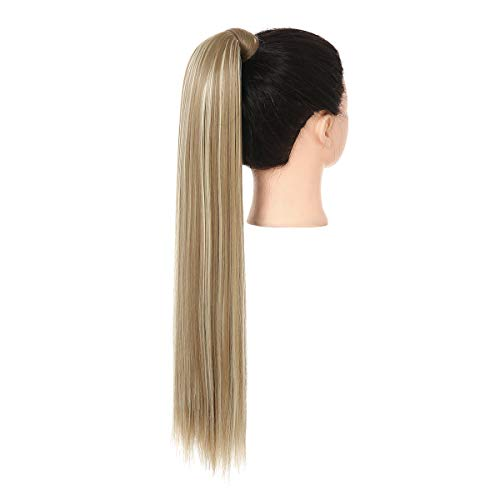 Ponytail Hair Extension Blonde Clip in on 32 Inch Long Wrap Around Drawstring Ponytail Extension Straight Synthetic Hair Pieces for Women SARLA P001-32&16H613