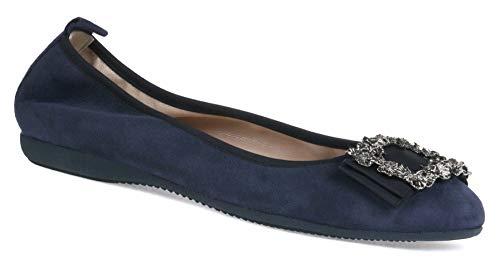 La Ballerina Carlotta Veloursleder schwarz oder dunkelblau mit silberfarbenen Blumenkranz-Schnalle (38 EU, Dunkelblau)