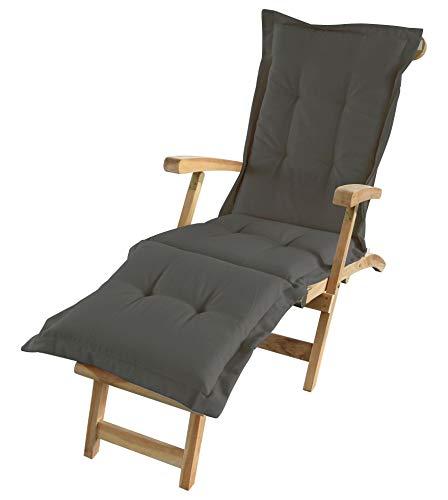 Spetebo Liegenauflage in braun/anthrazit - ca. 180 x 58 x 5 cm - Auflage für Deckchair, Liegestuhl usw.