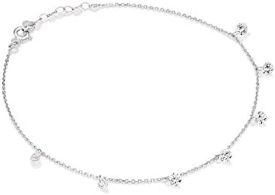 Pre Moon Jewelry 14K White Gold Anklet with Zircon - Natural White Gemstone Anklet - December Birthstone - Adjustable Chain (1.4 g, 8.3 in, 3 cm)
