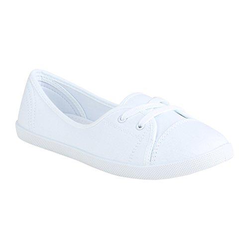 stiefelparadies Sportliche Bequeme Damen Sneakers Basic Sportschuhe 152636 Weiss 39 Flandell