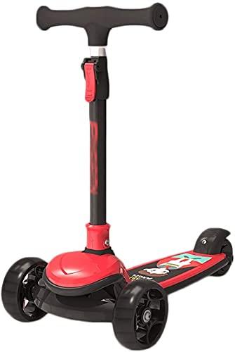 JCXT Scooter Infantil Scooters de dirección de Gravedad Inteligente, Scooter Anti-Rollover para niños pequeños para niños pequeños y niños, 4 Altura, Magro para dirigir (Color : Red)
