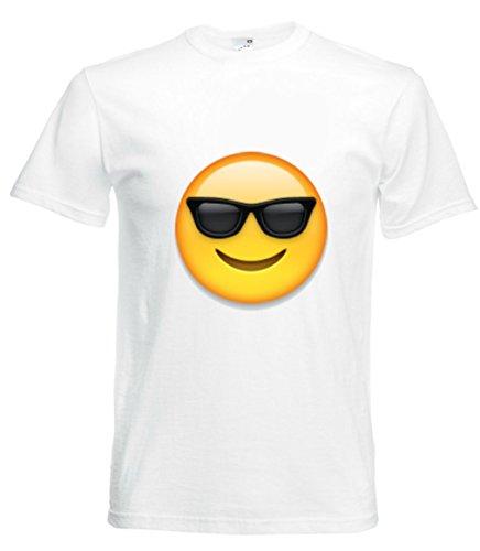 Camiseta de Cara con Gafas de Sol en Color Blanco para Hombre Mujer y niños Talla S- 5XL Blanco para Hombre Talla : Large