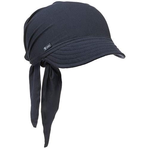 Lipodo Bandana Cap mit Schleifenbindung Damen - Sonnencap Handmade in Italy - Kopftuch mit Schirm - Visor One Size (54-60 cm) - Sommercap aus Baumwolle - Mütze Frühjahr/Sommer dunkelblau One Size