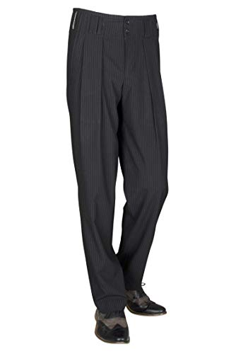 H.K.Mandel Schwarz Weiß gestreifte Bundfaltenhose Herren mit Extraweit geschnittene Beine, Vintage Stil Modell Boogie Größe 50