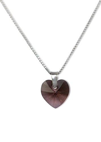 Zilveren ketting van 925 zilver, doosketting, Swarovski kristal hart, blush roos
