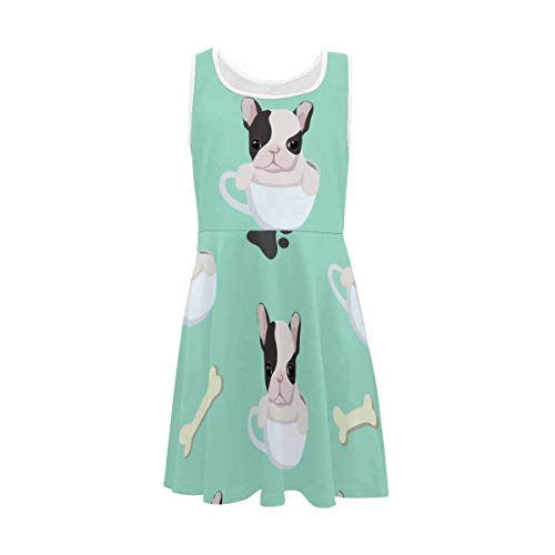 InterestPrint Girls Sleeveless Dress Round Neck Printed Casual Dress for 4-13 Years Baby Cute French Bulldog Puppy L