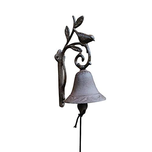 Guomipai Campanilla de Hierro Campana Artesanía de Hierro Fundido de Hierro Forjado Puerta de alojamiento Rama Birdie Bell Decoración de la Pared Decoración de la Pared 4.5x4x9in Campanas Decorativas
