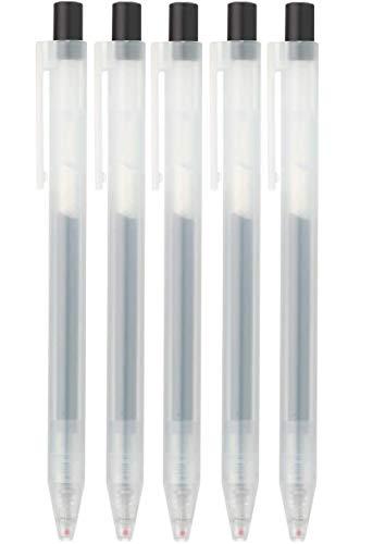 Moma Muji Gel-Kugelschreiber, glatt, 0,5 mm, Schwarz, 5 Stück