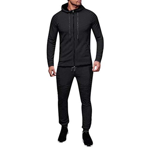 AABBQ Herren Jogging Anzug Trainingsanzug Sportanzug, Hoodie-Sporthose | Jogging-Anzug | Trainings-Anzug | Jogging-Hose (B - Schwarz, XL)