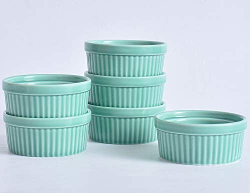 Kota Kapan 8 Oz Porcelain China Ceramic Classic Ramekin, Souffle, Creme Brulee Baking Bowl. Great for Dipping, Pudding, Ice Cream, Dessert. Oven, Dishwasher, Microwave Safe. Set of 6.