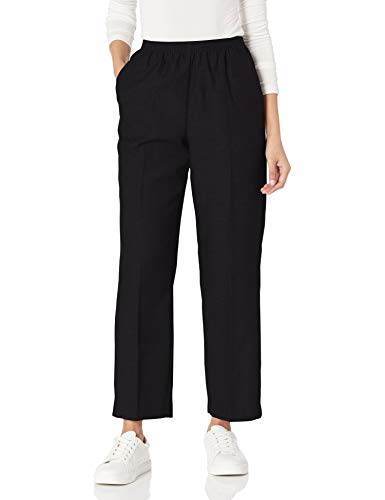 Alfred Dunner Women's All Around Elastic Waist Polyester Pants Poly Proportioned Medium, Black, 8 Petite